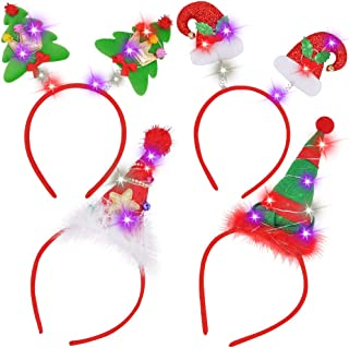 JOYIN 4 Pcs Light-Up Christmas Headbands with LED lights in Santa Hats & Christmas Tree Designs for Christmas Supplies and Holiday Parties Favors (ONE SIZE FITS ALL)