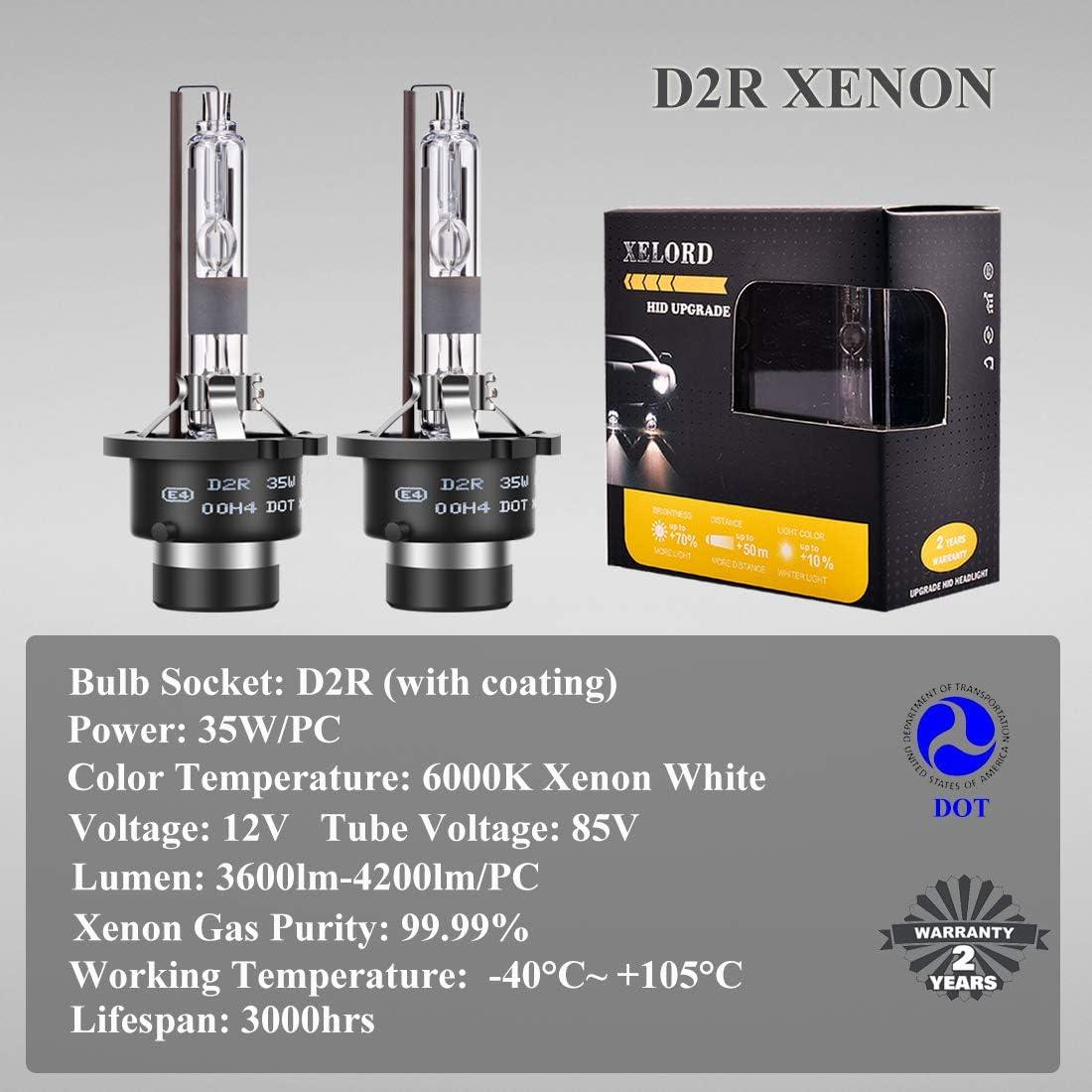 Upgrade Version XELORD D2R Headlight Bulb 6000K Xenon White Ultra Bright 35W 12V Car Headlamp Replacement HID Bulbs D2R 6000K 2 Lamps