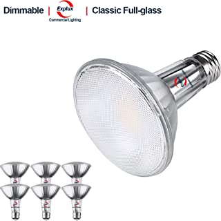 Explux Classic Full-Glass PAR30 Long Neck LED Flood Light Bulbs, Dimmable, 3000K Bright White, Indoor/Outdoor, 75W Equivalent, 6-Pack