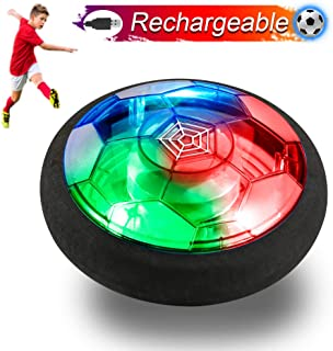 Verkstar Kids Toys Rechargeable Air Power Soccer Ball, Kids Disk Hover Ball Equipped with LED Lights, Time Killer for Boys/Girls Sports Toys Foam Bumpers for Indoor Outdoor Activities