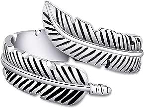 WUSUANED Vintage Punk Feather Unisex Adjustable Open Ring for Men Women