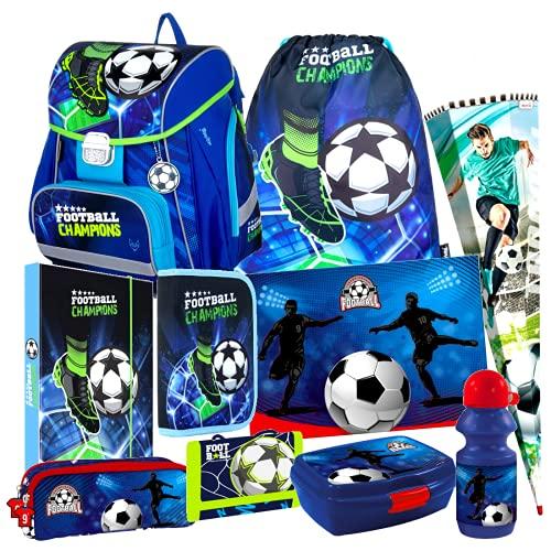 Fussball Football 10 Teile Schulranzen Ranzen Schultüte 85 cm Tornister Set mit Sticker von Kids4shop Tasche Fußball