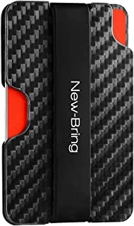 Carbon Fiber Credit Cardholder for Men with Money Clip RFID Blocking Slim Wallet
