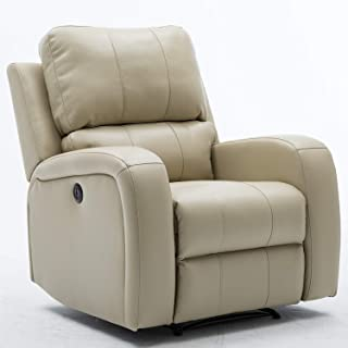 Bonzy Home Power Recliner Chair Air Leather Overstuffed - The New Electric Faux Leather Recliner with USB Charge Port - Home Theater Seating - Bedroom & Living Room Chair Recliner Sofa (White)