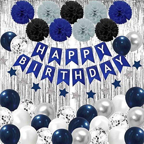 Geburtstagsdeko Blau Schwarz und Silber,Party Dekorationen Blau Silber,männer geburtstag deko,Dunkelblau Geburtstag Dekoration Set,Blau Schwarz und Silber Party Ballons,Happy Birthday Set