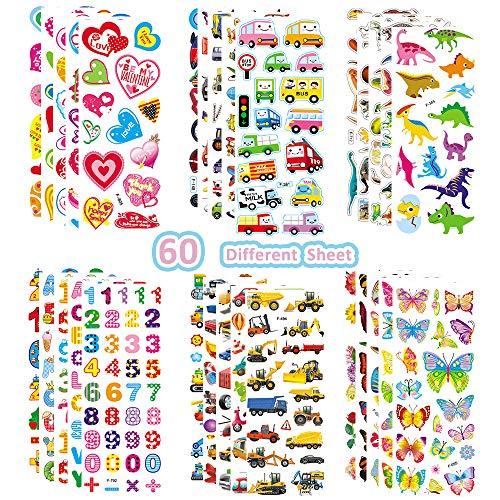 3D-Aufkleber für Kinder, Kleinkinder, 60 verschiedene Blätter, bunte 3D-Aufkleber für Jungen, Mädchen, Lehrer, Belohnung, Basteln, Scrapbooking