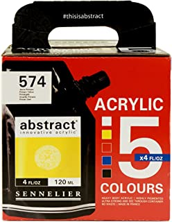 Sennelier Abstract Innovative Heavy Body Acrylic Paint, 120ml Pouch, 5 Color Set