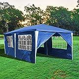 wolketon Pavillon 3x6m Wasserdicht und UV-Schutz Partyzelt Blau Gartenzelt mit 6 Seitenteilen Gartenpavillon für Party Festival Messestände