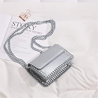 ZZZ Chain Shoulder Women Bags Simple Small Square Bag Fashion Trend Wholesale Foreign Trade Slanting Wild Fashion fashion (Color : Silver)