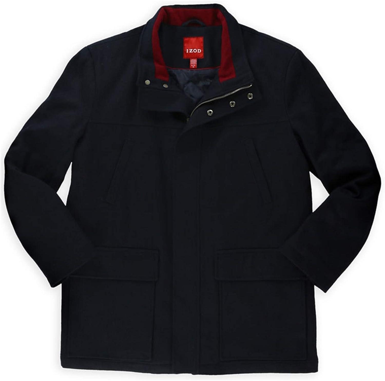 IZOD Mens Wool-Blend Pea Coat, Blue, X-Large