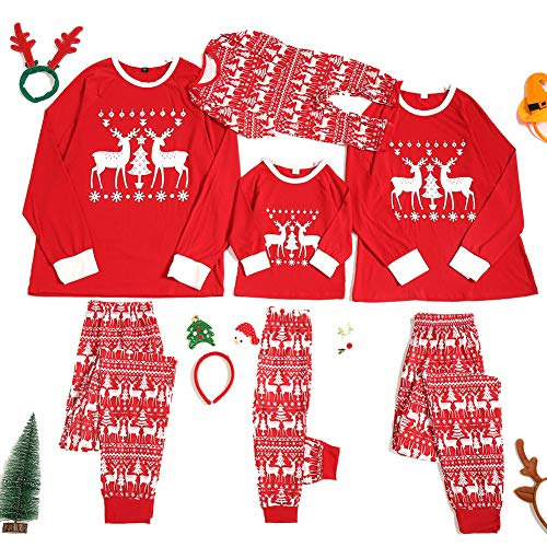 HEWYHAT Weihnachtspyjama Familienset, rotes Langarmhemd Nachthemd Nachtwäsche Freizeitanzug und Pyjamahose Frauen Männer Kinder Kleidung,Kids,XL