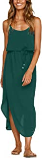 NERLEROLIAN Women's Adjustable Strappy Split Autumn Beach Casual Midi Dress