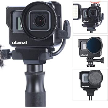ULANZI V3 Aluminium Vlogging Case for Gopro,Protective Housing Cage Shell Frame Mount for Microphone LED Video Light / 52mm UV Filter Interface/Lens Cap for Gopro Hero 7 6 5 Vlog Setup Accessories