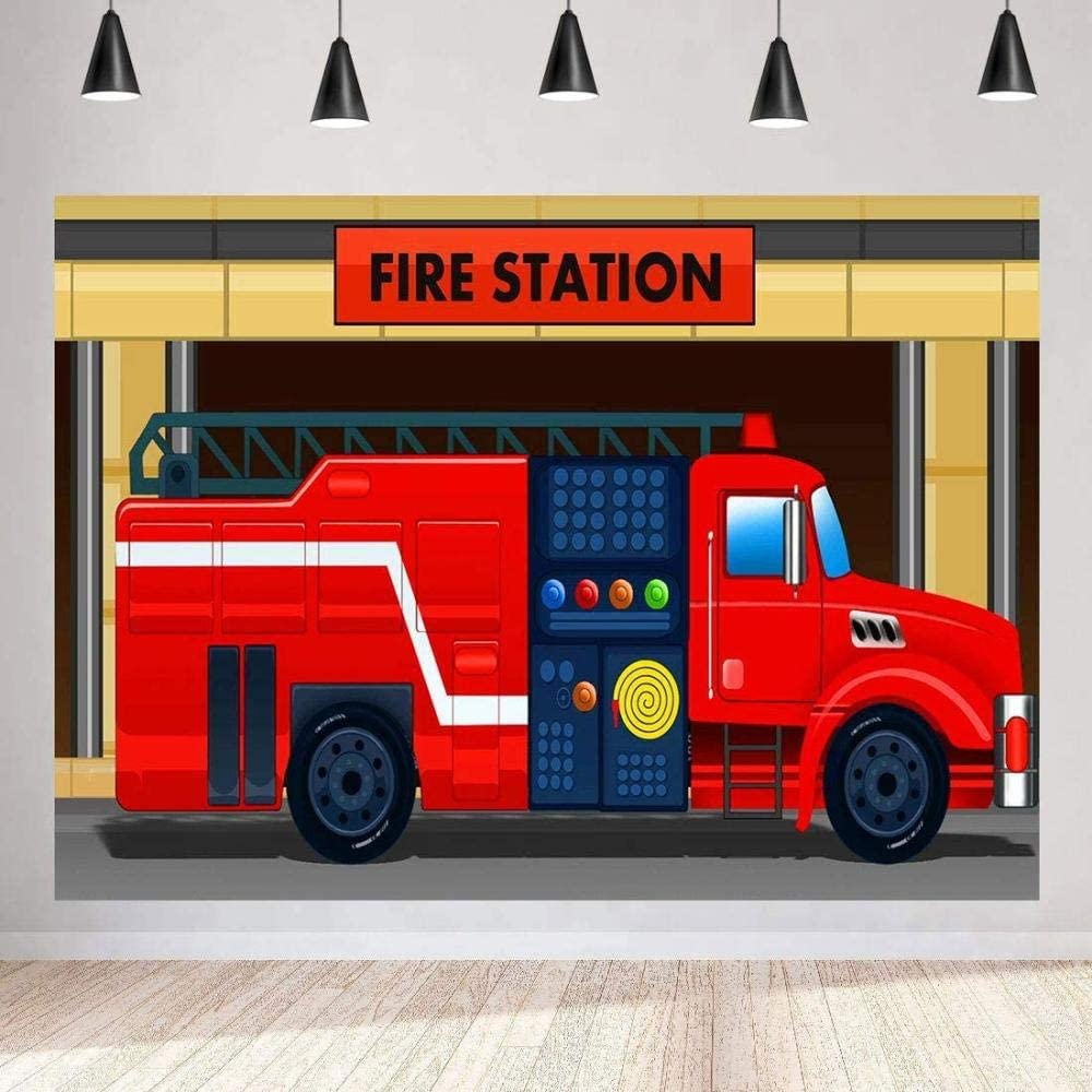 Zhy Red Fire Truck Backdrop for Photography 7X5FT Fire Department Background Party Supplies Decor YouTube Photo Shooting Props 71