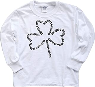 inktastic Bagpipes Text Shamrock Youth Long Sleeve T-Shirt