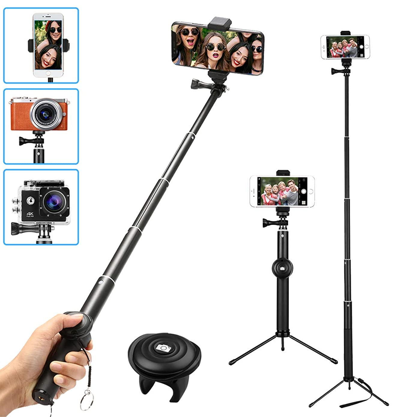 MWAY Selfie Stick 2 in 1 Portable Bluetooth Phone Tripod Camera Stand with Remote Control and Universal Phone Holder, Extendable Monopod for iPhone X/8/7/6, Galaxy Note 8/S8, Gopros, Mini SLR Camera