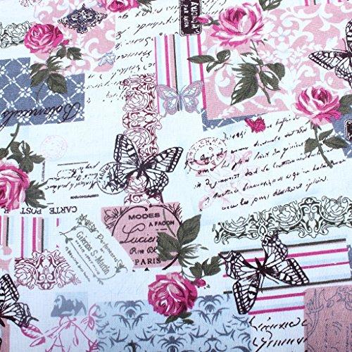 edealing 1 Meter Weinlese-Chic Französisch Rose Schmetterling Baumwollleinengewebe Retro Crafts