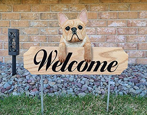 Pet Garden Stakes, Labrador Retriever Welcome Stakes, French Bulldog Garden Stakes, Welcome Sign Sculpture Decorations, Backyard Aesthetics Statues Ornament, Farm Yard Sign Dog Art Figurines Decor (F)