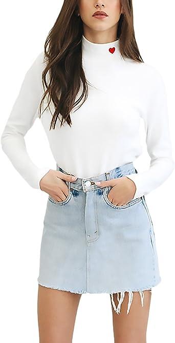 Mujer Camisetas Blancas Manga Larga Camisas Basicas Elegantes ...