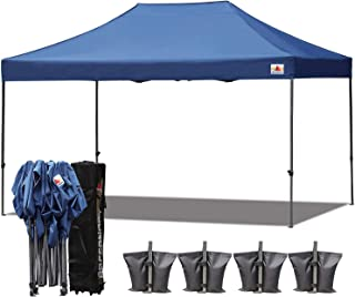 ABCCANOPY 23+ Colors 10x15 Pop up Tent Instant Canopy Commercial Outdoor Canopy with Wheeled Carry Bag Bonus 4 Weight Bags (Navy Blue)