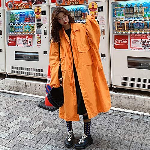 DAIDAILYQ Más Tamaño Naranja Otoño Casual Capa Larga Rodilla Trench Abrigos Mujeres Streetwear Suelto Batwing Windbreaker Primavera