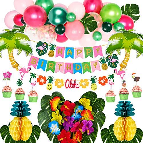 VAMEI Decoraciones de fiesta Hawái Hojas de palmera Globos de piña con feliz cumpleaños Guirnalda Flamenco Cupcake Topper Seda Flor de hibisco para decoraciones de fiesta en el jardín