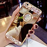HMTECH iPhone 6 Plus Funda Bling Glitter Silicona TPU Cromado Espejo Mirror Makeup Suave Flexible Shockproof Slim Cuero Caso Carcasas para iPhone 6S Plus,Gold Diamond Mirror TPU