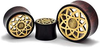 nugroho_mys Pair Sono Wood Plugs with Brass Lotus