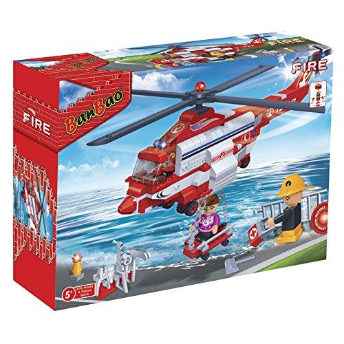 Mgm - 710003 - Jeu De Construction - Boîte Hélicoptère Pompiers - 272 Pièces - 3 Figurines - 33 X 24 X 7 Cm