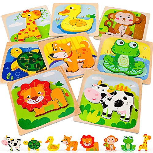 TOY Life 8 Pack Wooden Puzzles for Toddlers 1-3- Animal Shape Puzzle Toddler Montessori Toy- Wood Puzzles for Kids Age 2-4- Early Learning Preschool Educational Toys Gifts for 1 2 3 4 Year Old Toddler