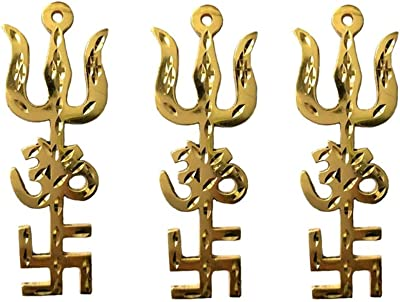 Divya Mantra Combo of 3 Indian Traditional Trishul Om Swastika Yantra Spiritual Metal Wall Hanging Showpiece Ornament/Hindu Religious Trisakthi Vastu Pooja Item Collectible - Home Decor Gift