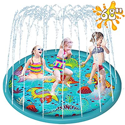 LUKAT Sprinkler for Kids, 68'' Splash Pad for Toddlers, Baby Sprinkler, Outdoor Water Play Mat Toy Wading Pool for 1-12 Years Old Boys and Girls