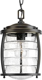 Progress Lighting P5521-108 Transitional One Light Hanging Lantern from Signal Bay Collection Dark Finish, 8.00 inches, Oil Rubbed Bronze