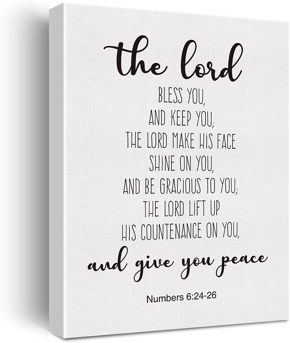 Bible Verse Art Wall Decor Numbers 6:24-26 The Lord Bless You Scripture Canvas Painting Prints for Home Dining Room Living Room Wall Decor Framed Artwork Christian Gifts(12x15 Inch)