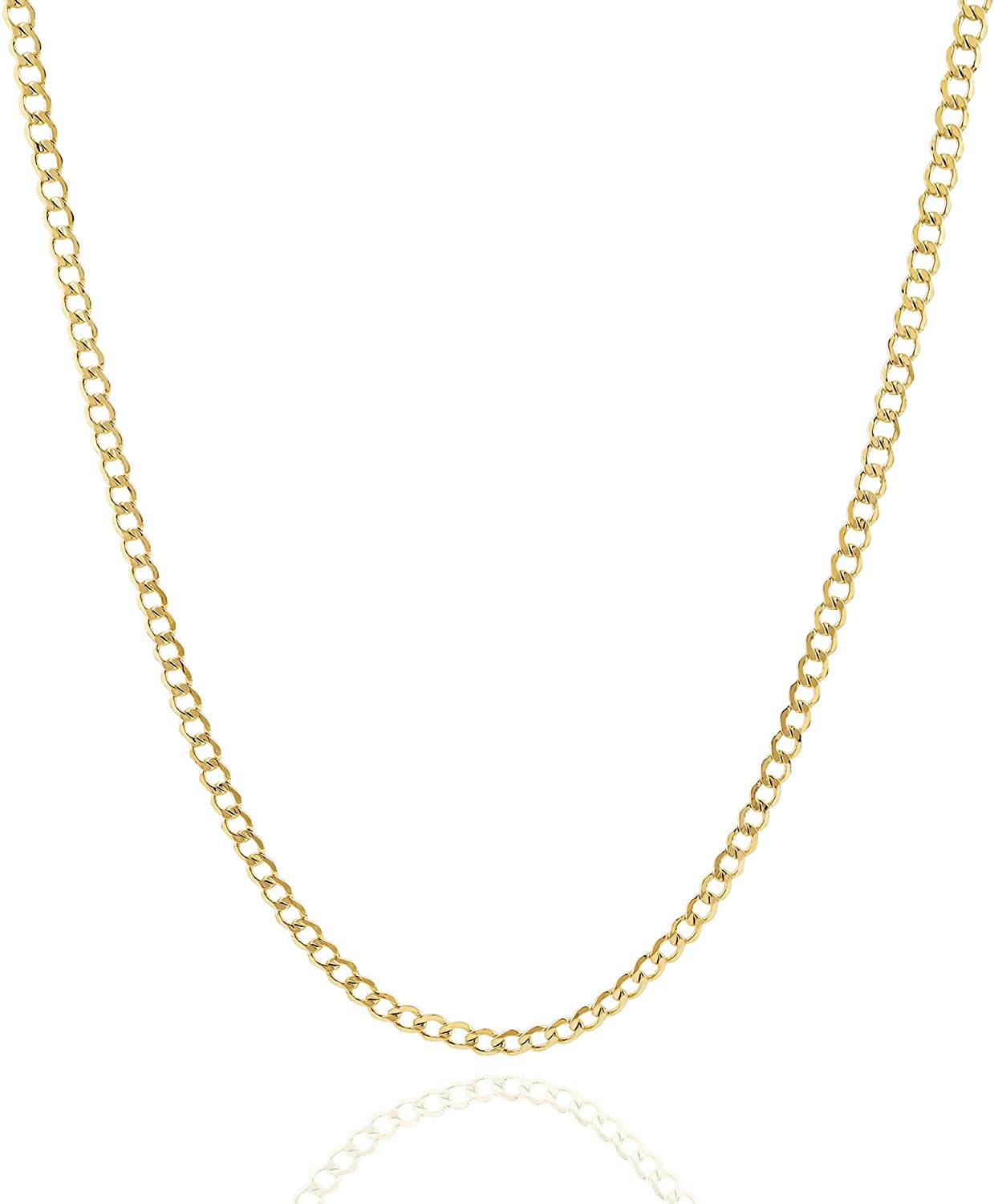 Jewelry Atelier Gold Chain Necklace Collection - 14K Solid Yellow Gold Filled Miami Cuban Curb Link Chain Necklaces for Women and Men with Different Sizes (2.7mm, 3.6mm, 4.5mm, or 5.5mm)
