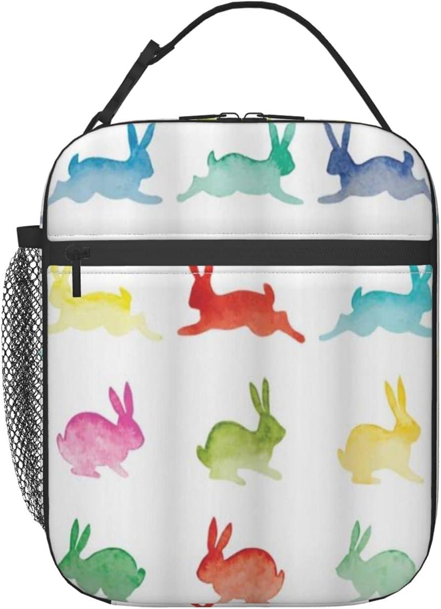 FAKAINU Bolsa de almuerzo Tote Conejitos de acuarela dibujados a mano sobre fondo blanco Conejos en colores pastel, Fiambrera de almuerzo Bolsa de almuerzo aislada con correa para el hombro para homb