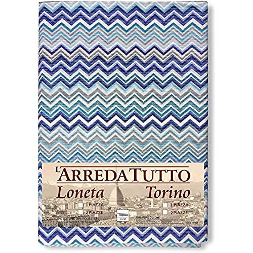 tex family Telo ARREDO COPRITUTTO Gran Foulard COPRILETTO COPRIDIVANO Tessuto MISSORI Blu (2 PIAZZE cm. 260x280)