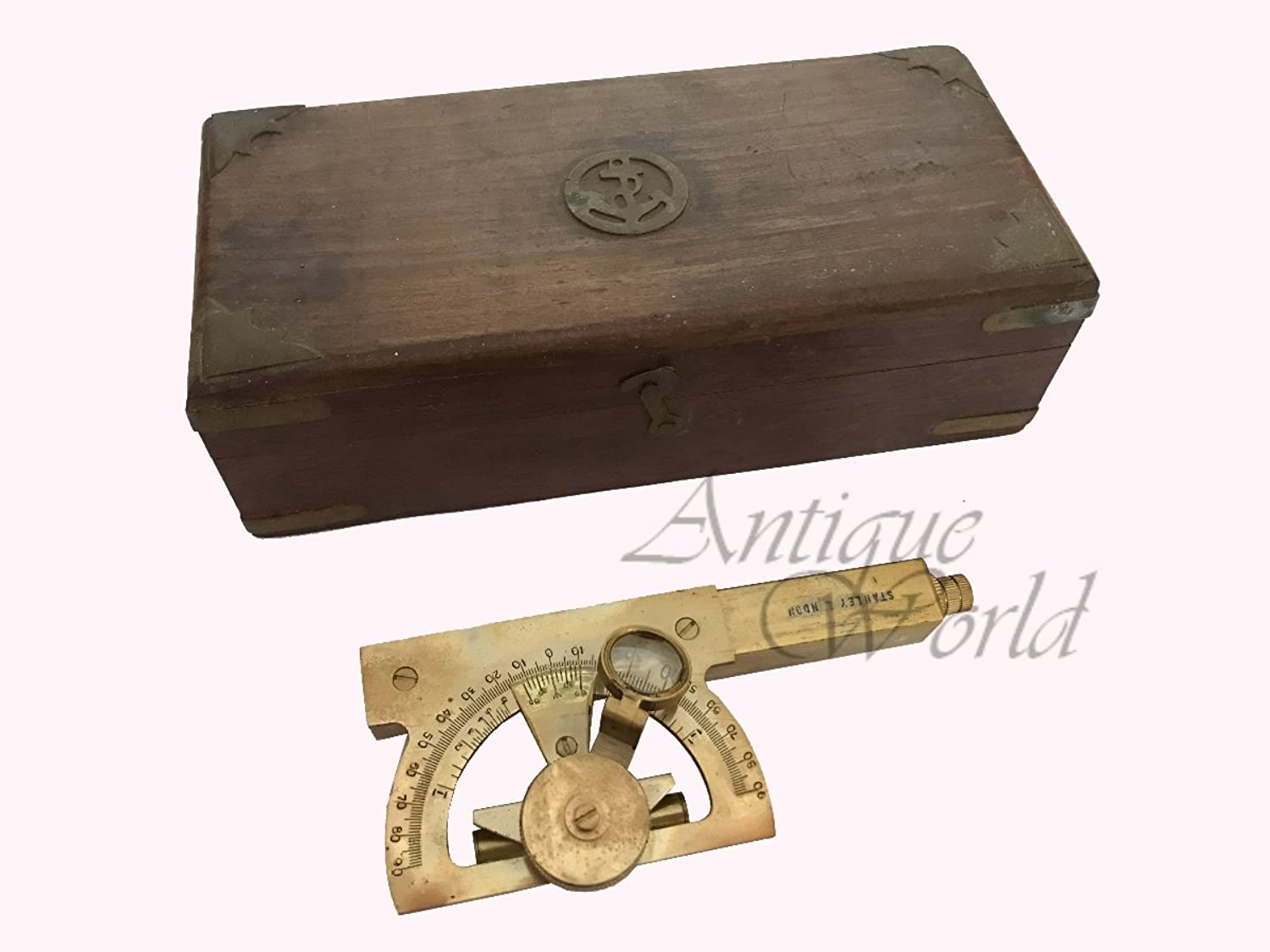 Antiques World Old Stock Antique Three In One Set (Telescope - Road Level – Sextant) Finely Polished Brass Maritime Nautical Sextant AWUSATC 017
