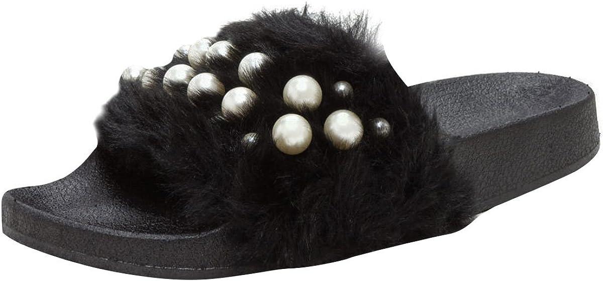 Wild Diva Womens Open Toe Pearl Embellished Slide Flat Sandal Flip Flop Slippers