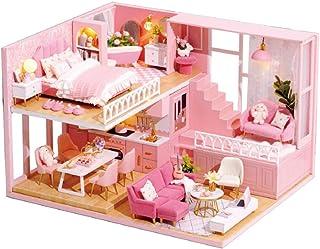TuKIIE DIY Dollhouse Miniature Furniture Kit, Mini Wooden Doll House Accessories Plus Dust Proof & Music Movement, 1:24 Sc...