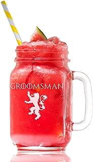 Lannister Groomsman Game Of Thrones Inspired Gift 15 Mason Jar Glass, Groomsmen Beer Glass Gift, Best Man Gift, Bridal Party Gift, Groom Beer Glass.- 4 PC SET
