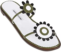 MANOLO BLAHNIK Kuantamod Kid White Authentic $1030 Sandals New Size 41