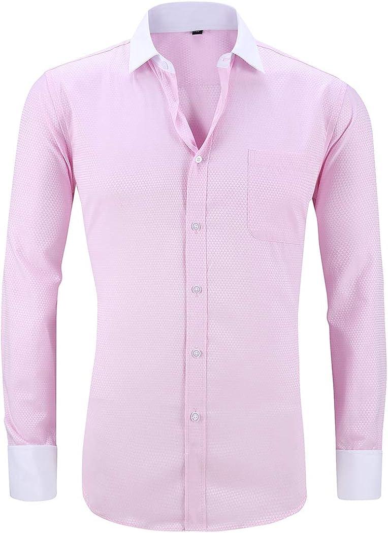 TAOBIAN Mens Wingtip Collar Pleated Tuxedo Shirt French Cuff Long Sleeve Formal Dress Shirts