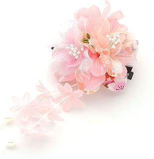 [ミッシュキッシュ]髪飾り ヘアアクセサリー コサージュ やわらかな2輪のお花と下がりの和柄クリップ 4517-610