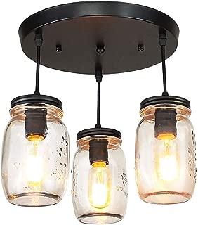 LMSOD Kitchen Island Light,3 Lights Adjustable Pendant Lighting,Glass Mason Jar Hanging Lamp