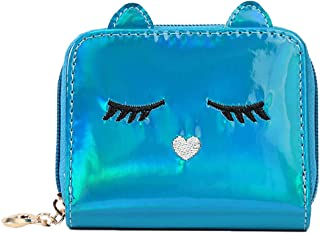 RARITYUS Holographic Mini Cat Face Short Wallet Small Coin Zip Around Purse with Key Ring for Women Girls