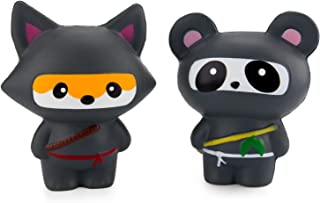 WATINC 2Pcs Jumbo Squishy, Kawaii Ninja Panda & Ninja Fox Sweet Scented Squishy for Kid Toy, Lovely Toy, Stress Relief Toy, Decorations Toy Gift Fun