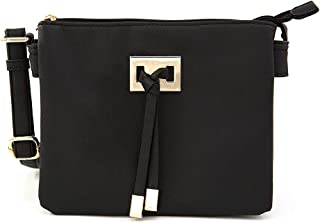 EMPERIA Women's Mini Double Gusset Central Tassel Small Size Crossbody Bag Purse