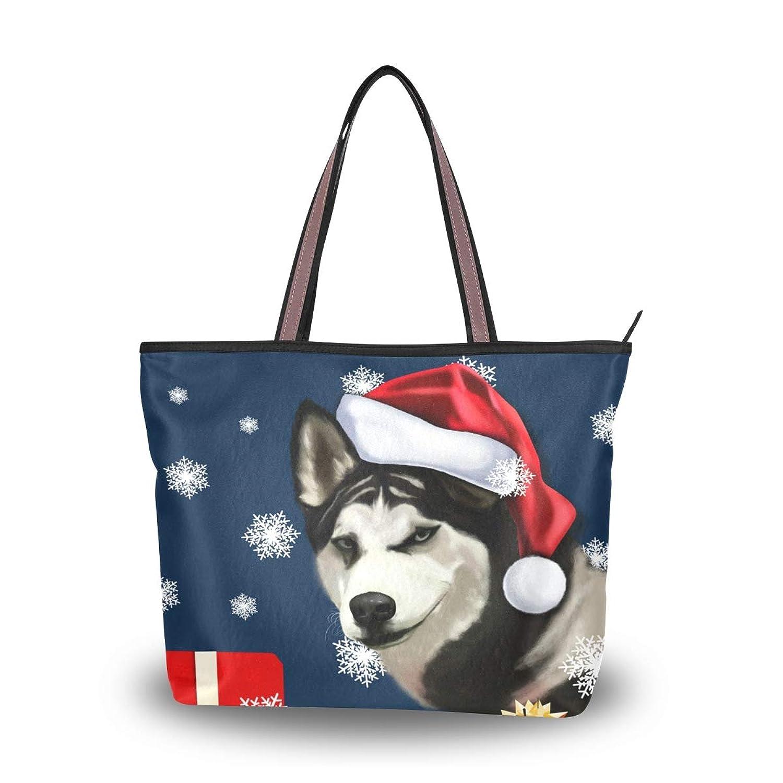 マキク(MAKIKU) トートバッグ クリスマス ハスキー かわいい 犬柄 レディース 大容量 キャンバス 布 a4 軽量 2way 肩掛け 大きめ ファスナー M L