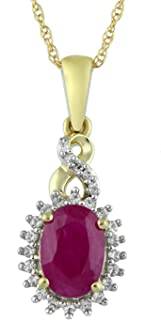 10kt Yellow Gold 7x5mm Oval Genuine Burmese Ruby, Round Genuine White Sapphire and White Diamond Accent Twisted Fashion Pendant Necklace, 18